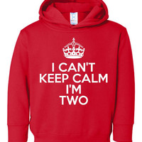 Hilarious I Can't Keep Calm I'm Two Hoodie.  Toddler I Can't Keep Calm for girls or boys hoodie!
