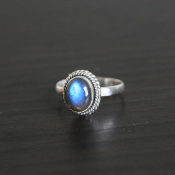 Labradorite 925 Sterling Silver Ring US7