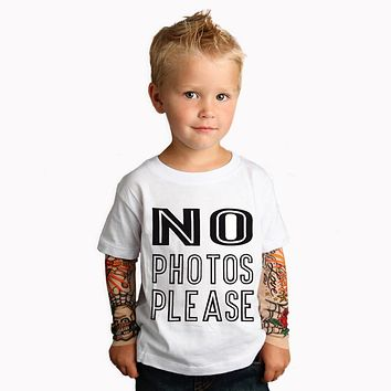 """No Photos"" Kids Tattoo Sleeve Little Biker Tshirt"