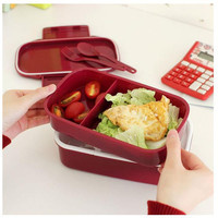 Fun Life 12:00 It's Lunch Time Japan style Double Tier Bento Lunch Box 4 Color Large Meal Box Tableware Microwave Dinnerware Set