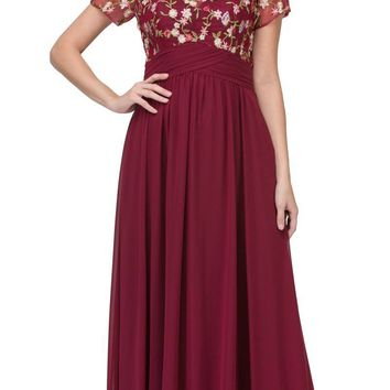 Burgundy Short Sleeved Long Formal Dress Embroidered
