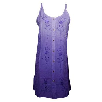 Mogul Womens Shift Dress Purple Floral Embroidered Sleeveless Button Front Cover Up Summer Dresses - Walmart.com
