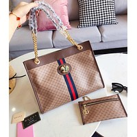 GUCCI High Quality Women Fashion Leather Tote Handbag Shoulder Bag Purse Wallet Set Two-Piece Coffee