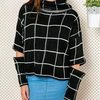 Plaid Cutout-Sleeve Turtleneck Knitted Sweater
