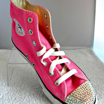 f6171ff99726 Glass Slippers Swarovski Crystal Pink Chuck Taylor Converse High Top All  Star Girls Youth Sneaker Shoes