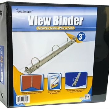 "3"" Clear View Binder with Two Inside Pocket Black - CASE OF 12"