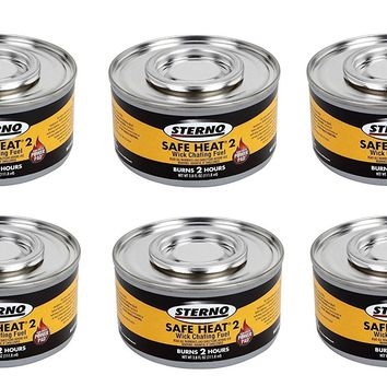 Sterno 2 Hour Safe Heat Chafing Dish Fuel With PowerPad Feature, 6 Cans,3.80 fl OZ.