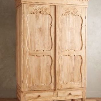 Handcarved Toren Armoire by Anthropologie Neutral One Size Furniture