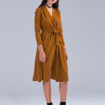 Dark Yellow Wrap Front Tie Waist Midi Dress