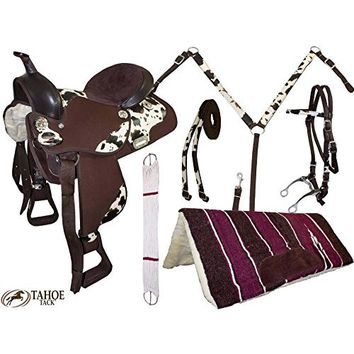 "15"" Western Cordura Trail Barrel Pleasure Horse SADDLE Bridle Tack Brown 4950"
