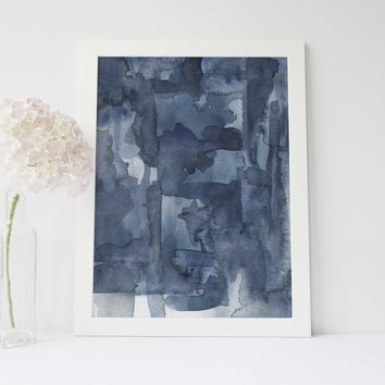 Dark Blue Contemporary Beach Ocean Art Print