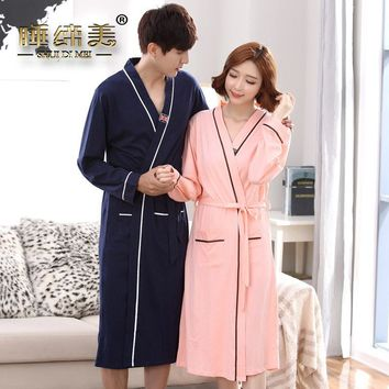 Couple mens womens matching japanese kimono style bath robe cotton yukata long dressing gown fall winter sleep lounge house coat