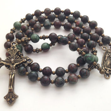 Catholic Rosary Beads, Our Lady of Guadalupe, Kashgar Garnet Beads, Bronze Crucifix, Prayer Beads, Vintage Style Rosary, Religious Gift
