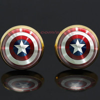 captain America shield gold plated stud post earrings,the avengers superhero earrings,girlfriend gift Bridesmaid Gift