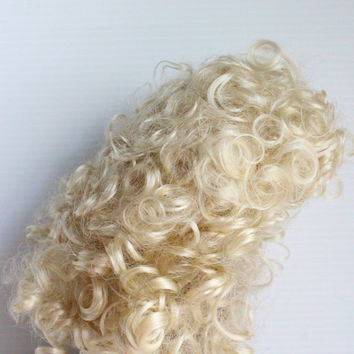 "IMSCO DOLL WIG Light Blonde Curly Style 14"" Supply, doll making supplies, doll hair, curly doll hair, blonde, doll wig,"