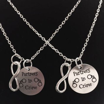 2 Necklaces Partners In Crime Infinity Best Friends Couple's BFF Sisters Set