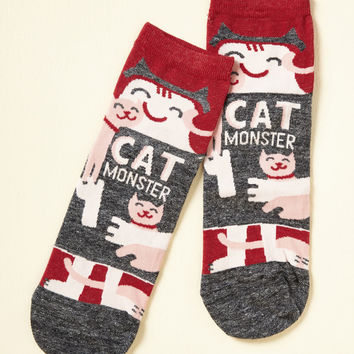 She Did the Monster Dash Socks in Cats | Mod Retro Vintage Socks | ModCloth.com