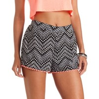 CROCHET-TRIMMED PRINTED HIGH-WAISTED SHORTS