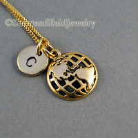 Globe, World Globe necklace, Earth Day, 24K gold plated necklace, initial necklace, initial hand stamped necklace, personalized necklace