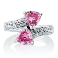 Trillion Cut Pink CZ 925 Sterling Silver Fashion Wrap Ring 2.22 Ct #r799-pk