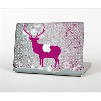 The Pink Stitched Deer Collage Skin Set for the Apple MacBook Air 13""