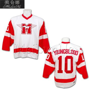 Customize Youngblood Movie Hamilton Mustangs Hockey Jerseys 9 Derek Sutton 10 Dean Youngblood 20 HeaverBlank Sewn Any Name NO.