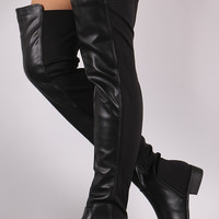 Leather Elastane Fit Over the Knee Boots