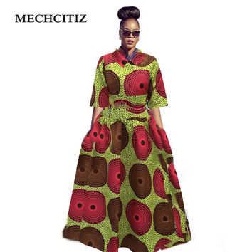 MECHCITIZ 2017 Africa dress dashiki African print dress Traditional  embroidery maxi dresses Women clothing Plus size batik