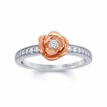 """Enchanted by Disney 1/5 C.T. T.W. Diamond 10K Two-Tone Gold """"Belle"""" Rose Ring - JCPenney"""