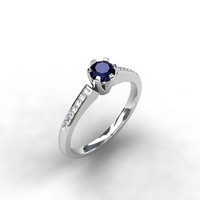Blue sapphire ring, Diamond, engagement ring, white gold, diamond engagement, sapphire, solitaire, thin, blue engagement, blue sapphire