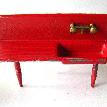 Red Kitchen Set by Tootsie Toys - Vintage Dollhouse Furniture - Metal Kitchen Furniture - Stove Sink Refrigerator and Table