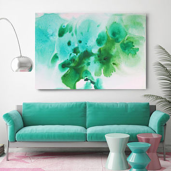 "Watercolor Coastal Abstract 52. Contemporary Abstract Green Aqua Canvas Art Print up to 72"", by Irena Orlov"