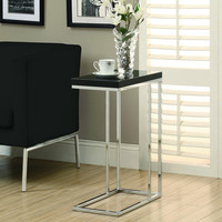 Glossy Black Hollow-Core / Chrome Metal Accent Table