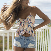 Vitamin Sea Blush Floral Peplum Crop Top
