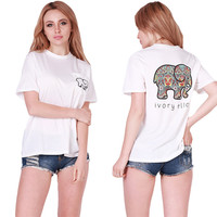 "2016 New Summer Style ""Ivory Ella"" Women T Shirts Cotton Cartoon Elephant Print T shirt Casual Women Shirts Tops Tee"