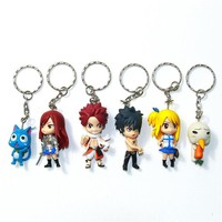 Fairy Tail Anime Key Chains 6 Piece Set