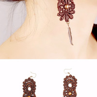 lace earrings // brown lace beaded long earrings /black hand dyed long lace earrings // jewerly gift for her