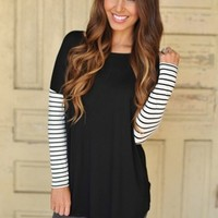 Solid Tunic Black- Striped Sleeves
