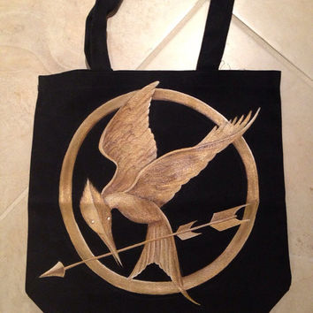 Hand Painted Mockingjay Canvas Tote Bag from The Hunger Games