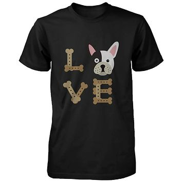 Bulldog LOVE Men's Black Shirt Gift for Puppy Lover Cute Tee for Dog Owner