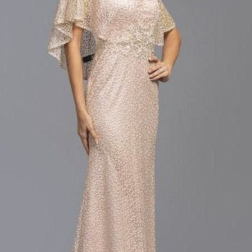 Champagne Long Mother of Bride Dress with Cape