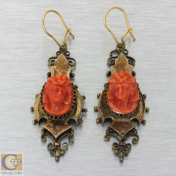 1880s Antique Victorian 14k Solid Rose Gold Carved Red Coral Cameo Earrings