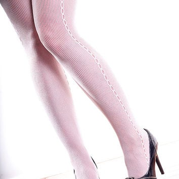 Vintage High Quality White Seam, Steampunk, Punk, Mod Nylon Tights Pantyhose One Size