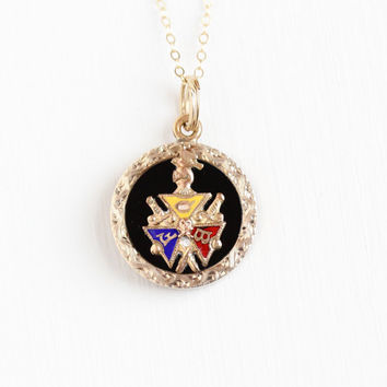 Antique 10k Rosy Yellow Gold Filled Double Sided Knights of Pythias Pendant Necklace - Vintage Edwardian Enamel FCB Medallion Fob Jewelry