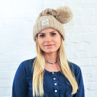 Camel Cable Pompom Hat