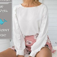 White Frill Trim Long Sleeve Blouse