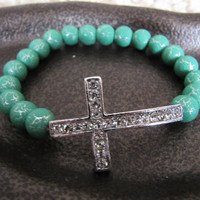 Silver Crystal Side Cross Bracelet with Green Crackled Silver