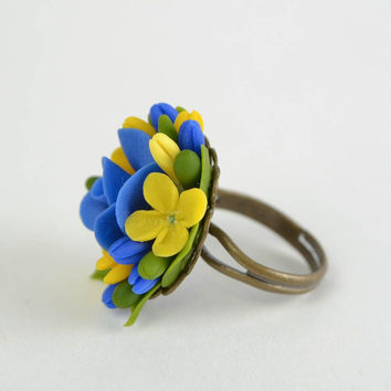 Blue and yellow handmade designer cold porcelain flower ring