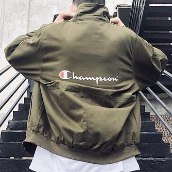 Champion New fashion letter print long sleeve coat jacket Army Green