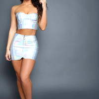Iridescent Silver Mini Skirt